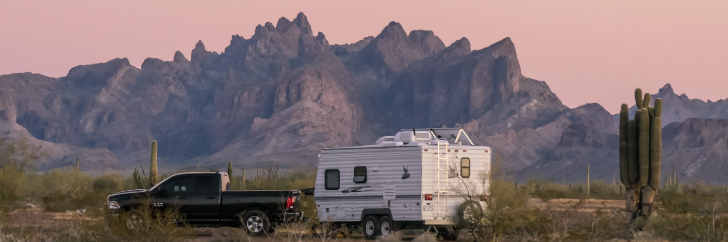 picture of KOFA mountains and our trailer