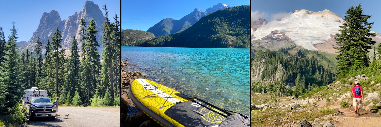 Rv and mountains, kayak and Lake Diablo, hiking at Mt. Baker