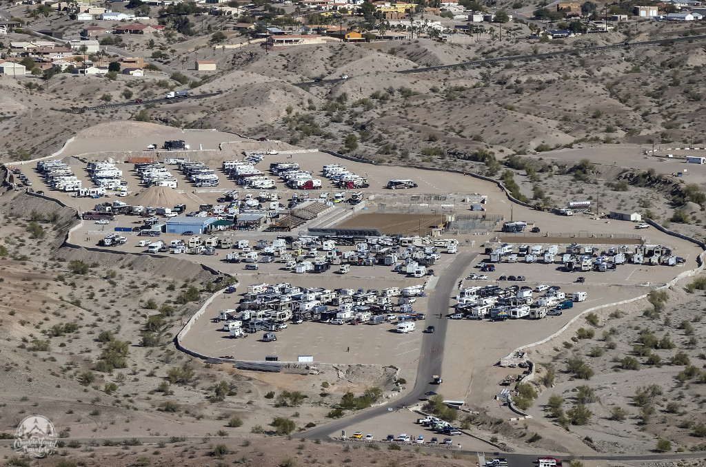 Hundreds of RVs parked at the Rodeo Grounds