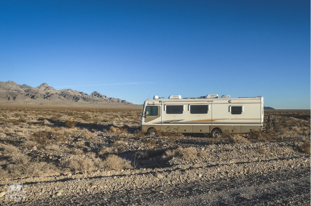 RV in a gravel wash