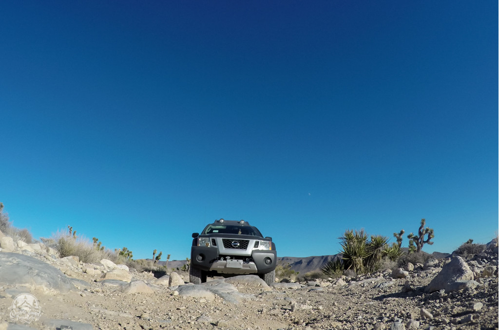 Nissan Xterra on a gravel 4x4 road