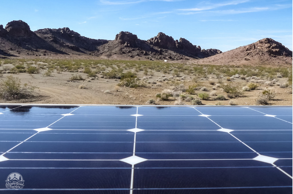 Solar panel and distant mountains