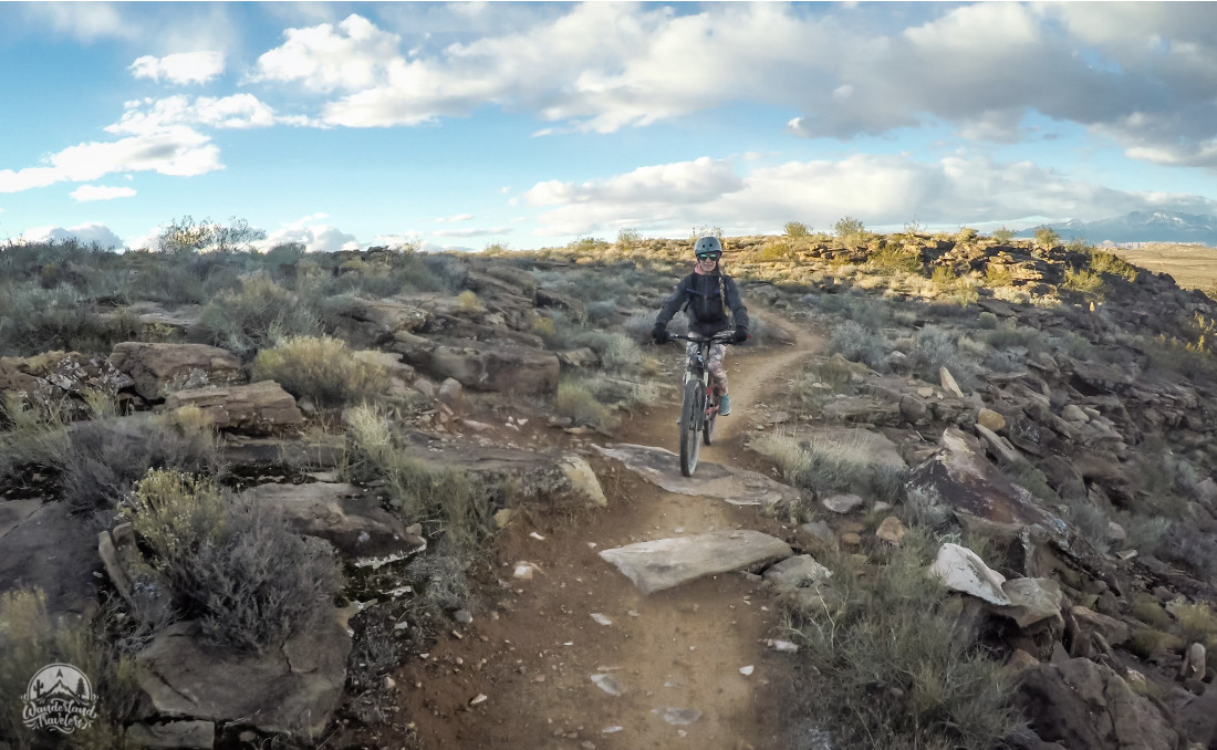 Woman on a mountain bike trail